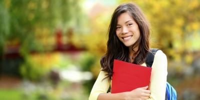 female student in fall